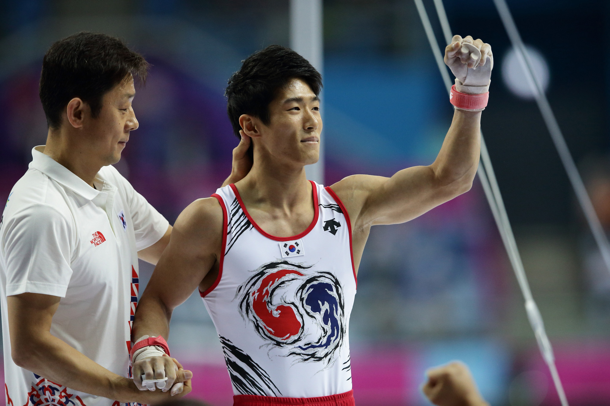 London Olympic champion Hakseon Yang won the men's vault today in Baku ©Getty Images