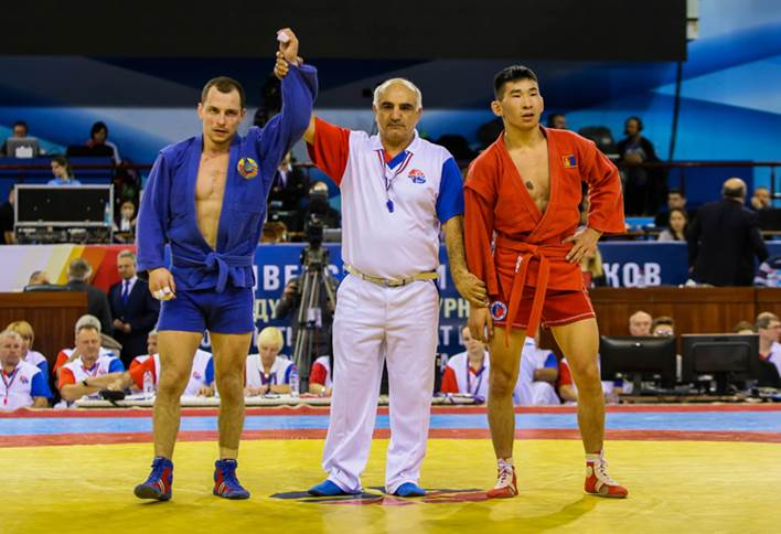 Former sambo world champion Ivan Aniskevich of Belarus got back into winning mode in the recent tournament held in Minsk as part of the qualifying for this year's European Games in that city ©FIAS