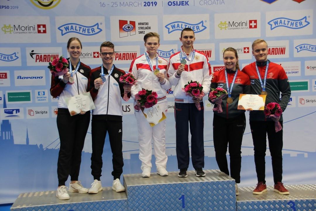 Kharkova and Shamakov claim mixed gold at European Shooting Championships