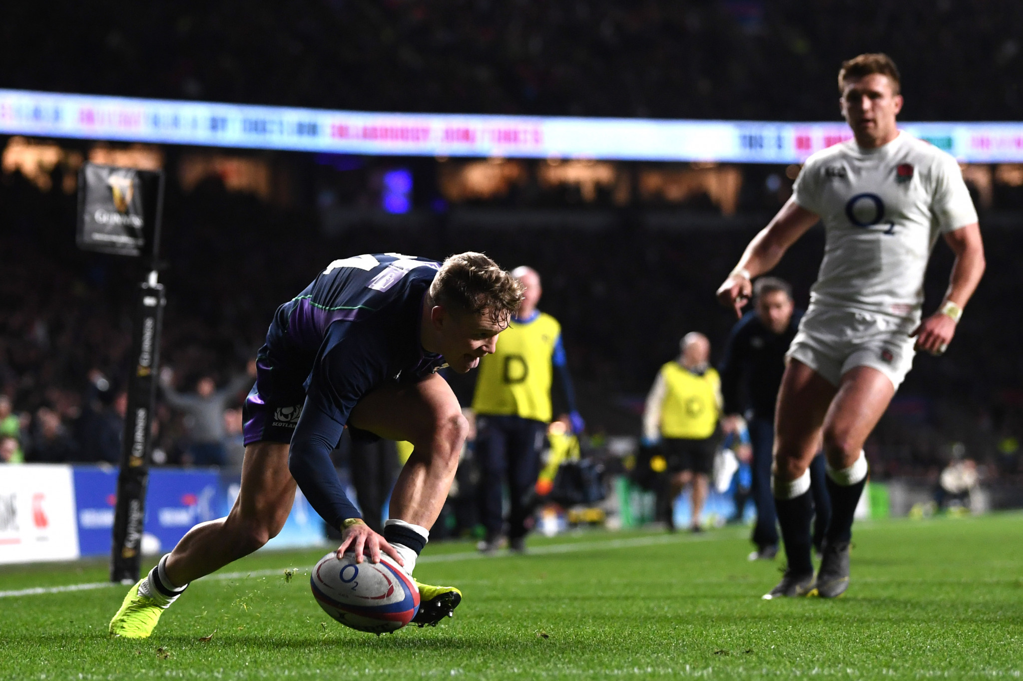 Darcy Graham scores Scotland's fourth try against England ©Getty Images