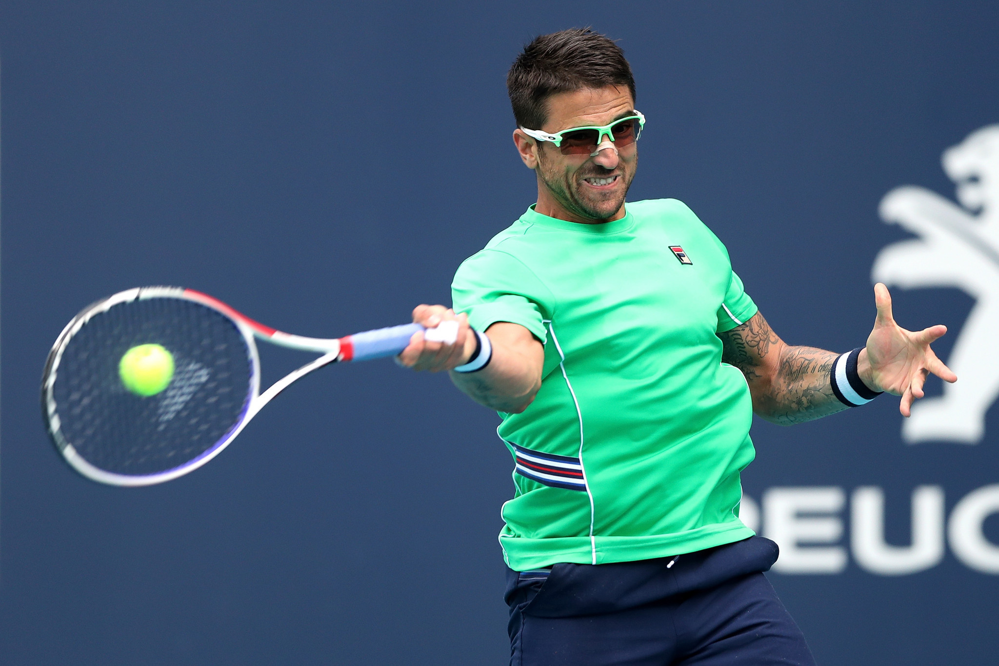 Serbia's Janko Tipsarević earned his first ATP Tour-level win since August 2017 on a rain-hit day at the Miami Open ©Getty Images
