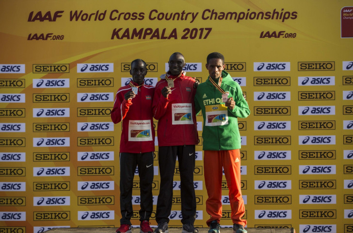 Kenya's Geoffrey Kamworor will seek a third consecutive victory in the men's race at the IAAF World Cross Country Championships in Aarhus, Denmark on Saturday ©Getty Images