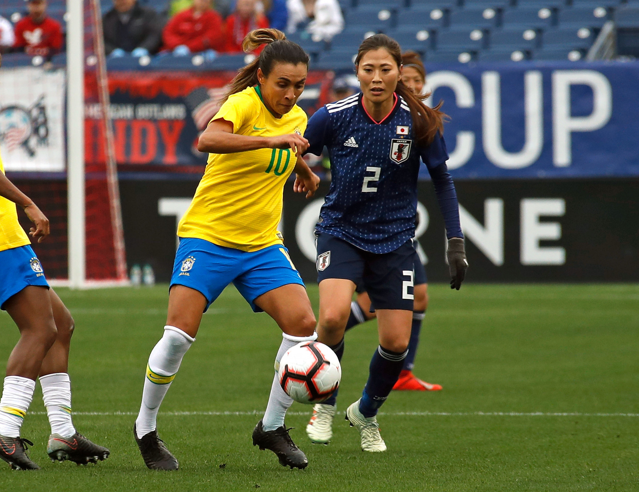 The Brazilian women's national football team has taken up teqball in the lead-up to this year's FIFA World Cup in France ©Getty Images