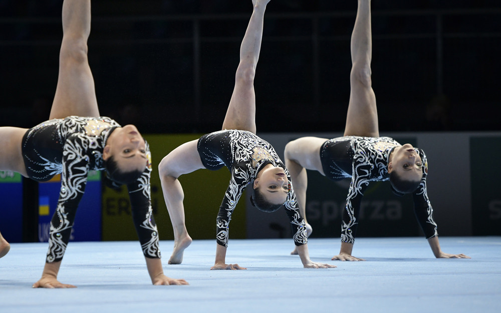 World silver medallists Karina Sandovich, Veranika Nabokina and Julia Ivonchyk will lead a strong Belarusian challenge in the women's group competition at the FIG Acrobatic World Cup in Las Vegas ©FIG