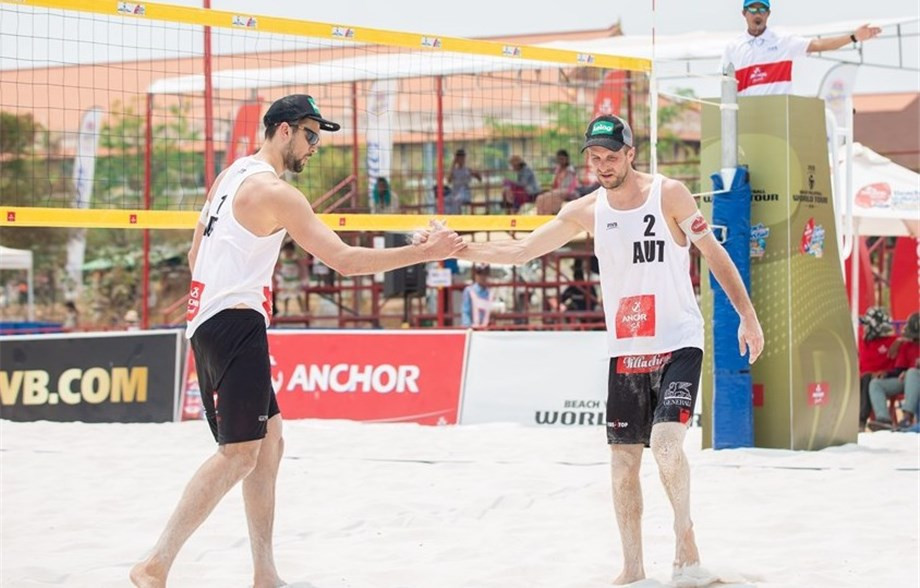 Cristophe Dressler and Alexander Huber of Austria also progressed to the semi-finals ©FIVB