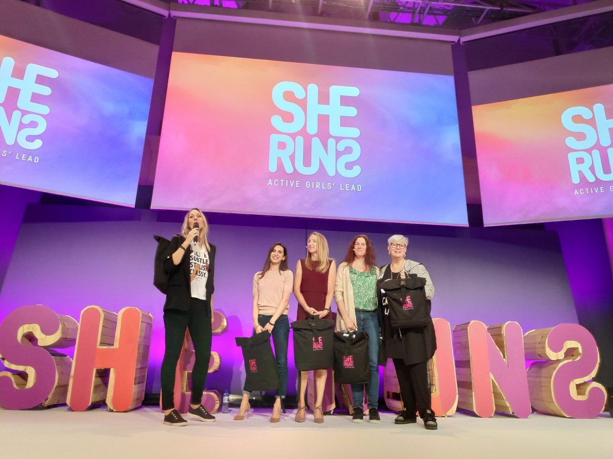 Britain's marathon world record holder Paula Radcliffe, centre, was among top sportswomen and administrators who addressed 500 young women