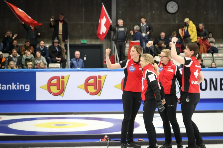 Switzerland celebrate making the final of the World Women's Curling Championships ©World Curling Federation