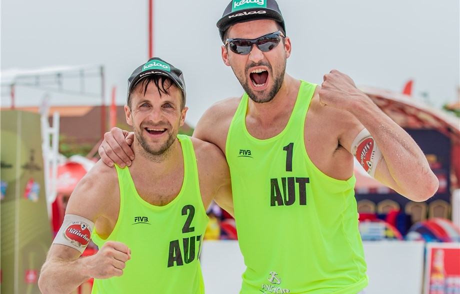 Austria's Christophe Dressler and Alexander Huber topped the podium in Cambodia ©FIVB