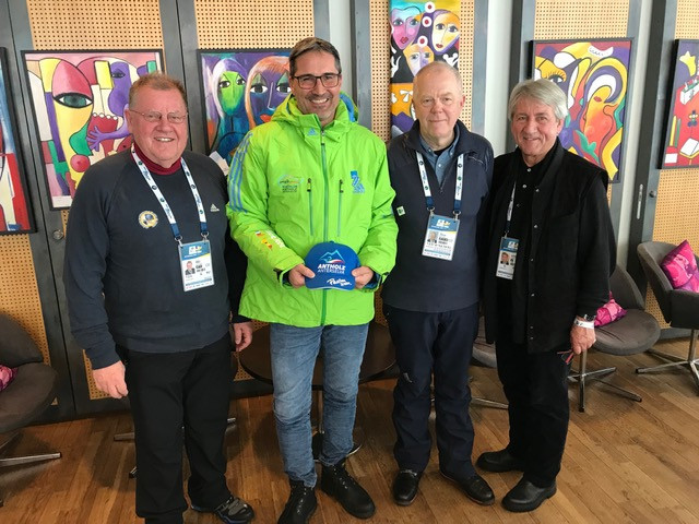 FIL President Fendt meets IBU and UIPM counterparts during visit to Biathlon World Championships