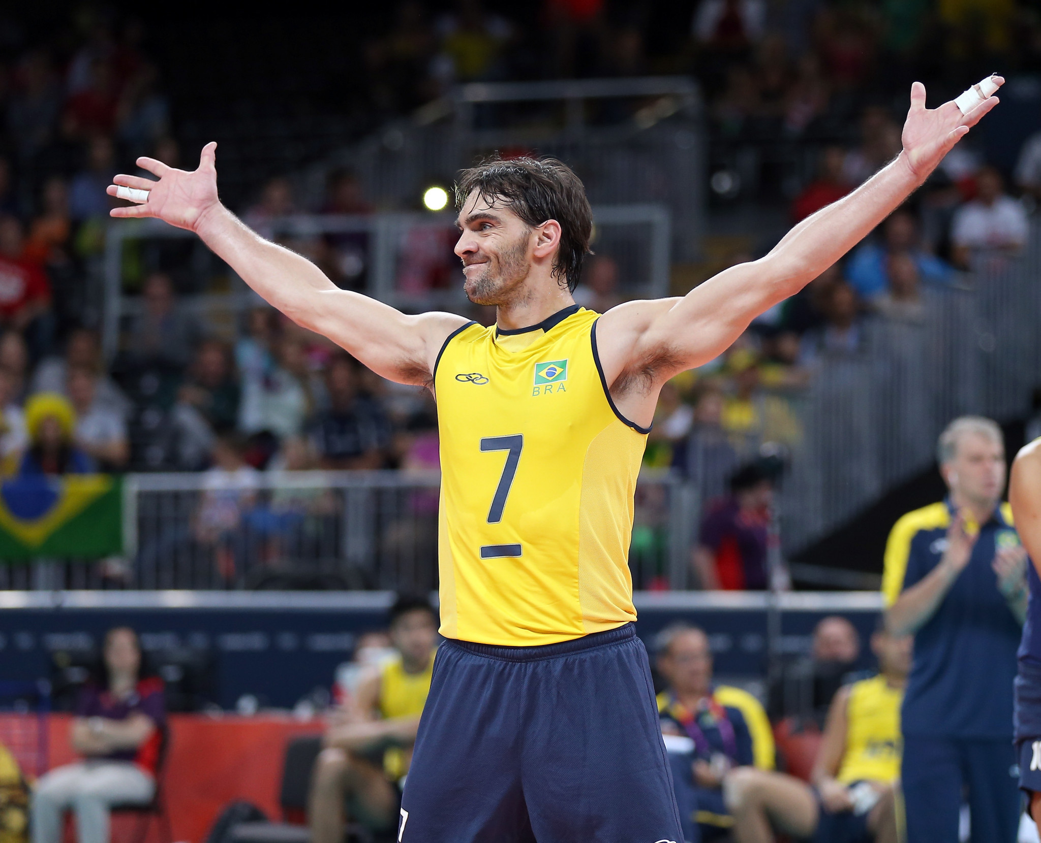 Brazilian legend Giba will be one of the names on court when the inaugural Snow Volleyball World Tour begins tomorrow in Austria ©Getty Images