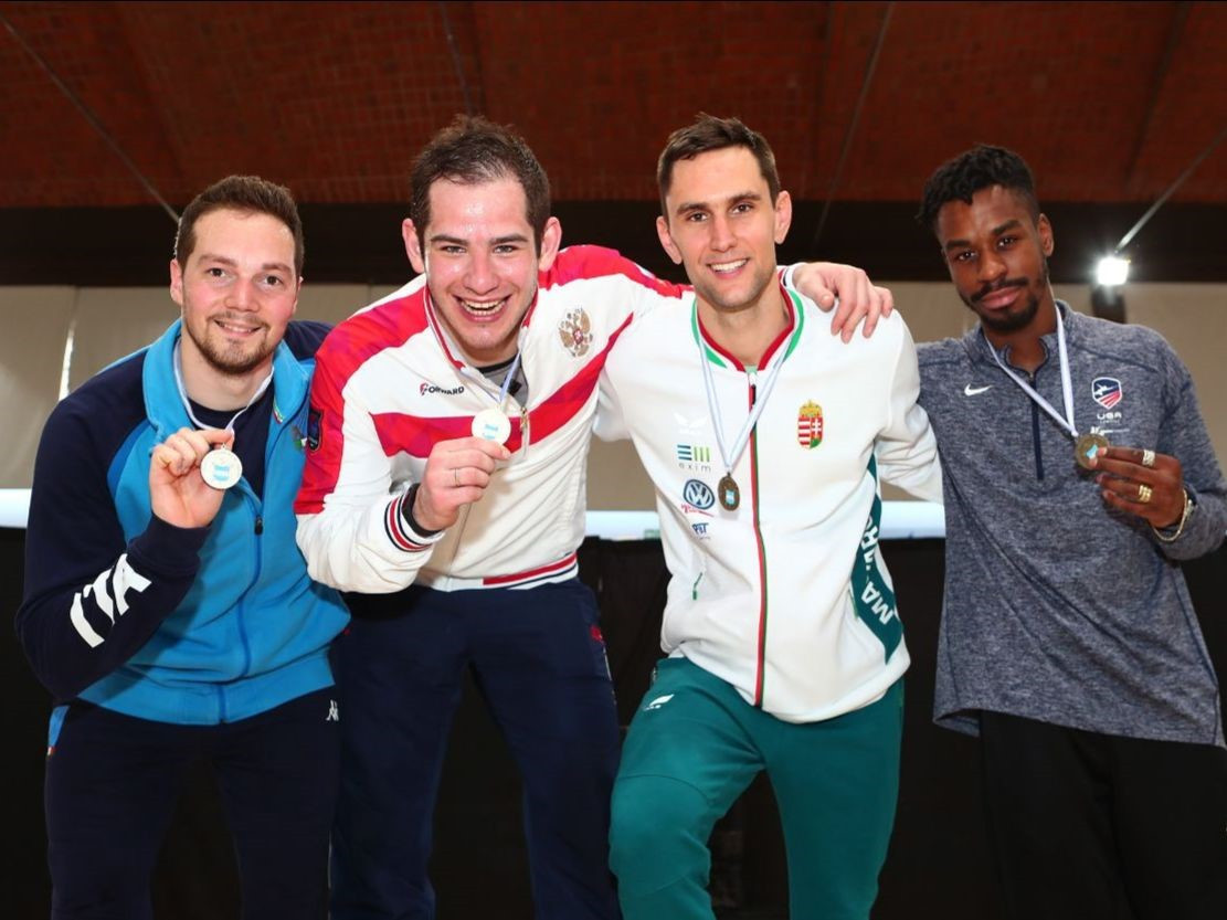 Russia's Sergey Bida, second from left, took the gold medal at the International Fencing Federation Men's Épée World Cup in Buenos Aires ©FIE
