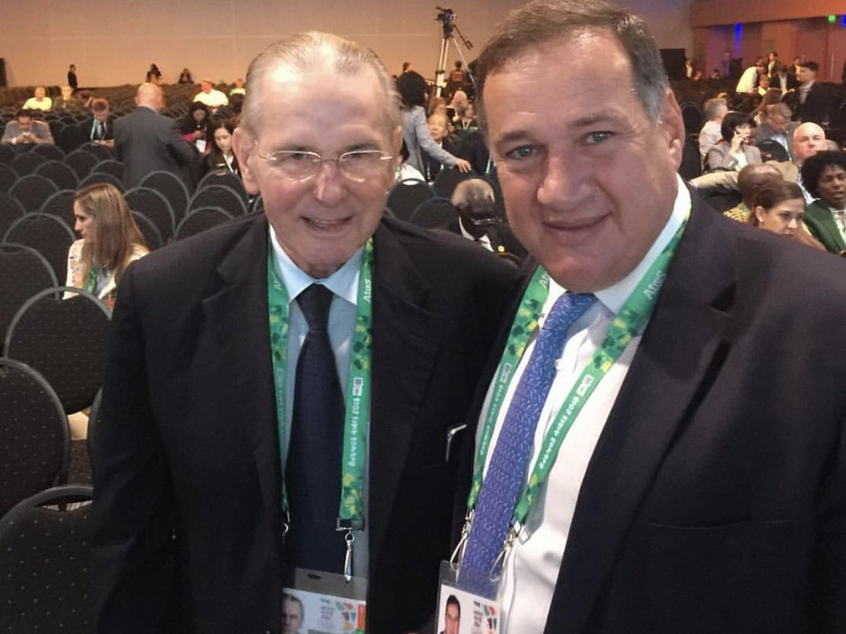 Hellenic Olympic Committee President Spyros Capralos, right, with former IOC President Jacques Rogge at the 2018 Session in Buenos Aires, would be expected to play a key role in helping to organise an event in Athens ©Twitter
