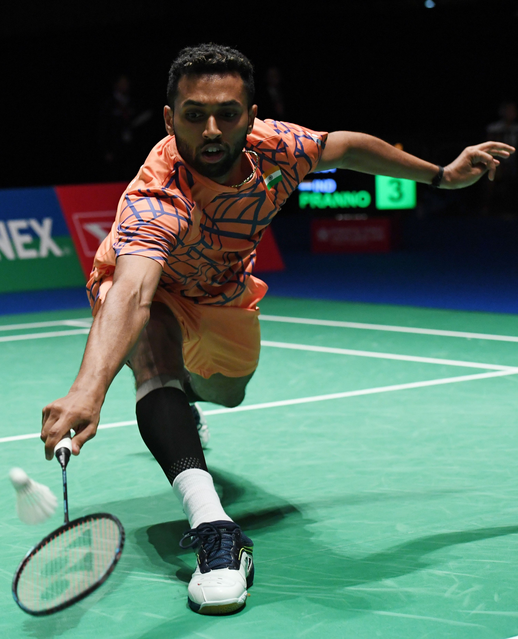 Home favourite H.S. Prannoy kept up his dominance over Denmark's Jan O Jorgensen ©Getty Images