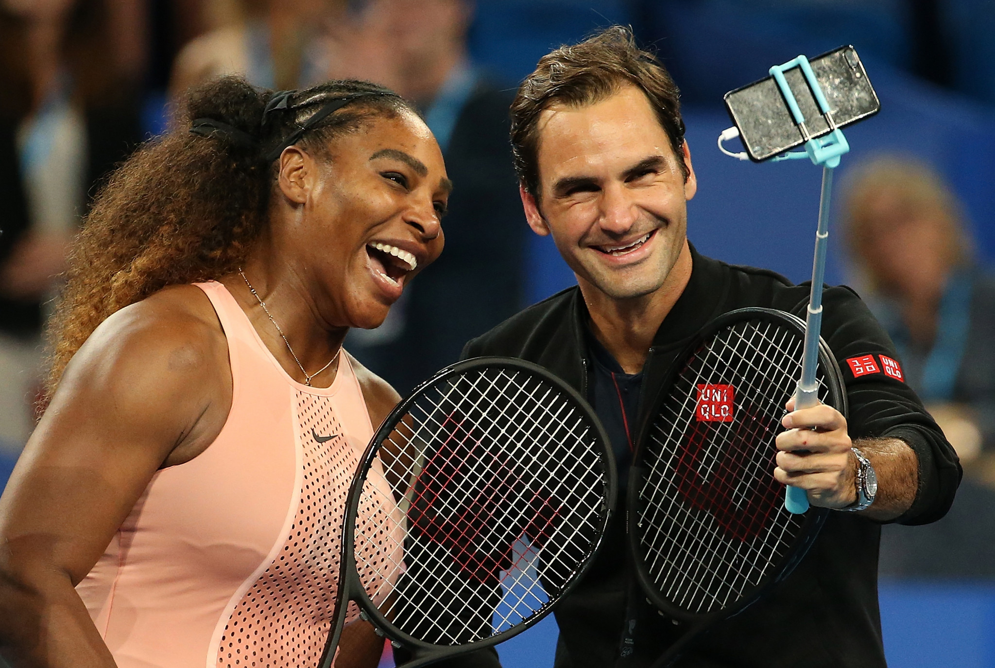 Serena Williams and Roger Federer played against each other competitively for the first time in January's Hopman Cup ©Getty Images
