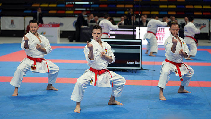 Spain men, pictured, and Spain women reached their respective team kata finals ©WKF