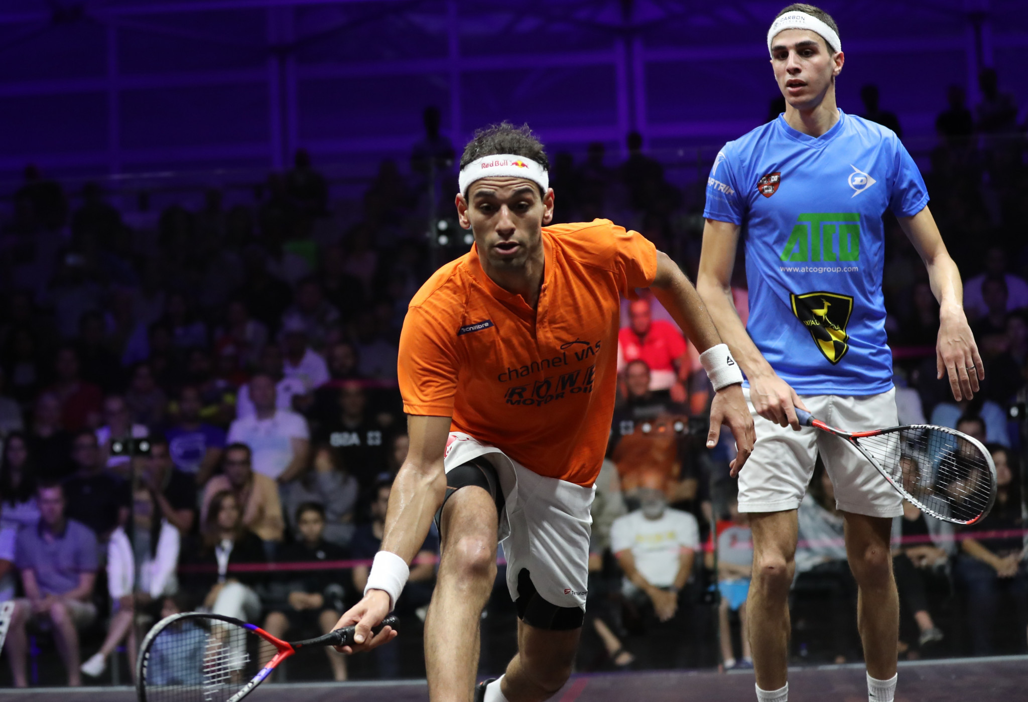 Mohamed Elshorbagy, left, is into the final of the PSA Grasshopper Cup ©Getty Images