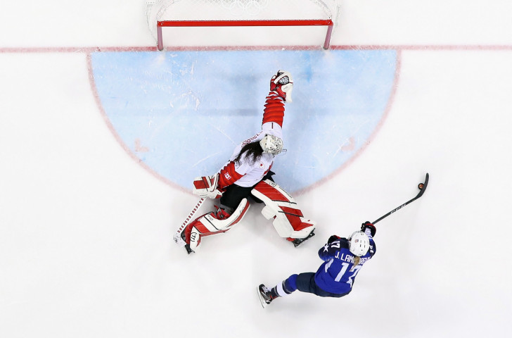 Jocelyne Lamoureux  of the United States scores against Shannon Szabados of Canada in a shootout to win the women's gold medal game at the Pyeongchang 2018 Winter Olympics. This week in Espoo, the US will defend their women's world title ©Getty Images