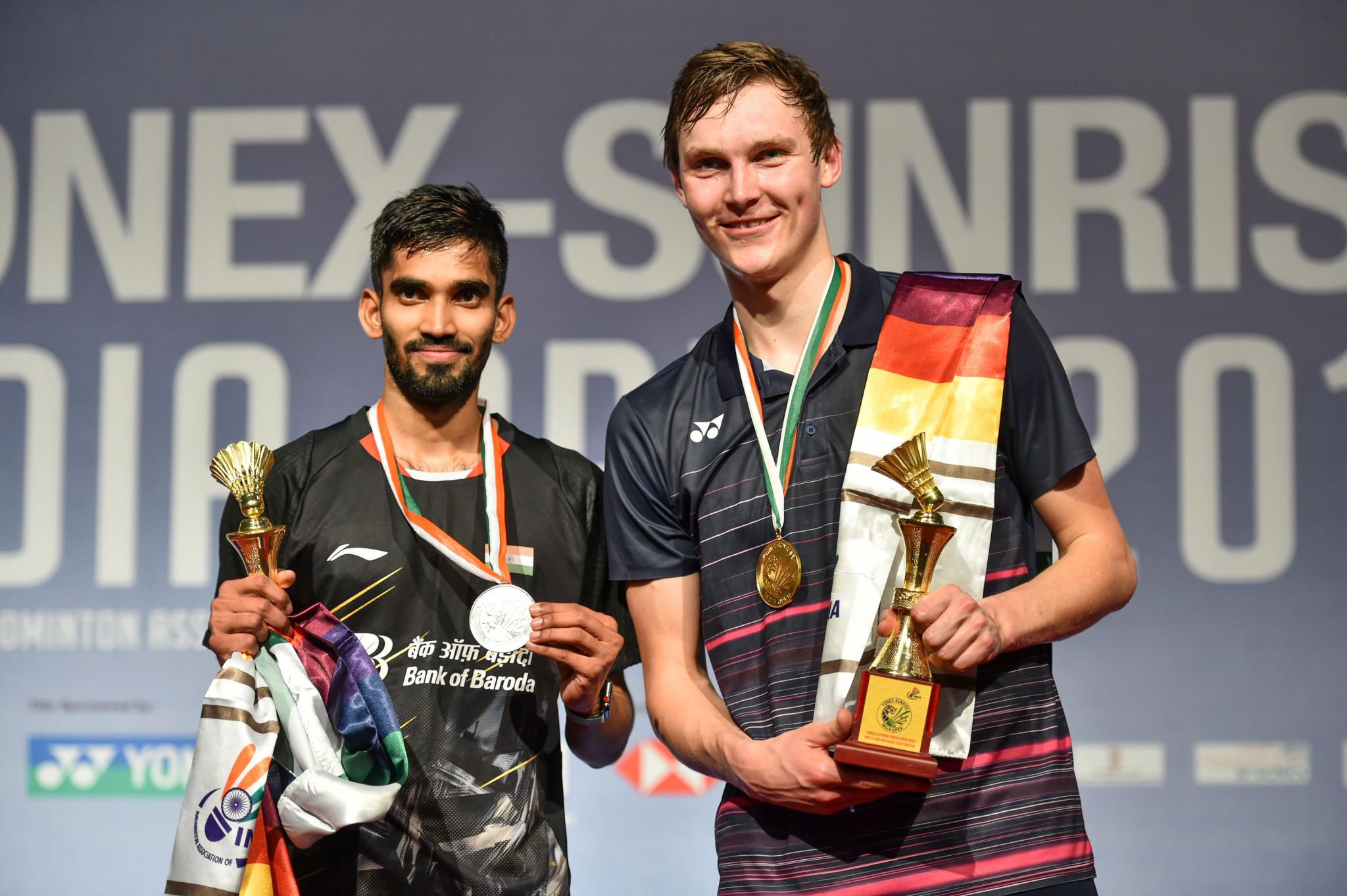 Viktor Axelsen, right, won the men's title in New Delhi ©Getty Images