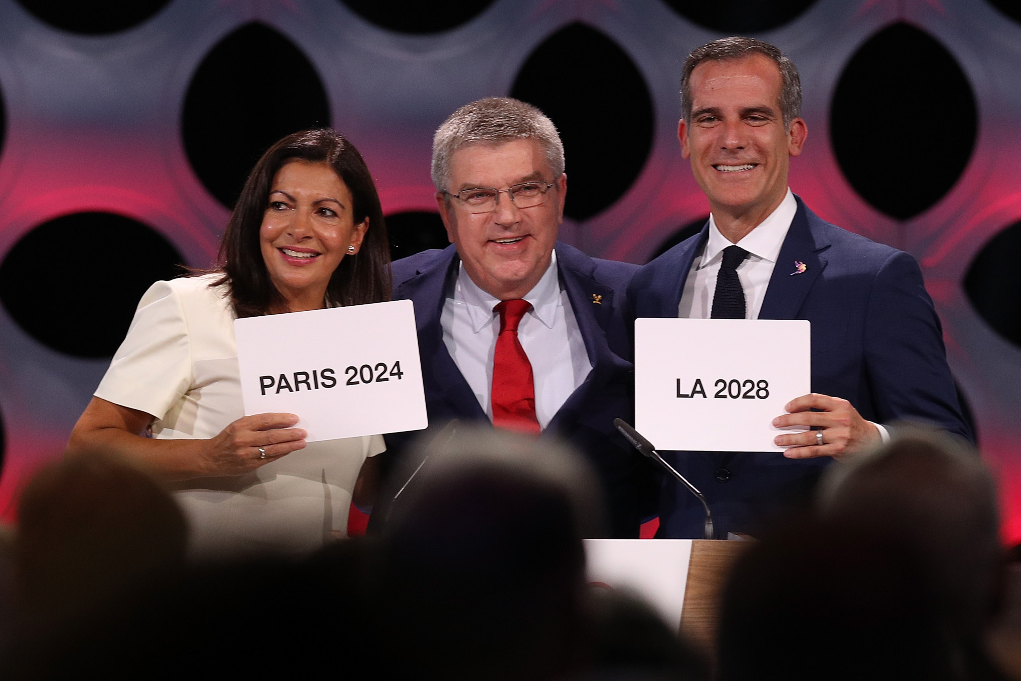 The last working group on the Olympic bidding process paved the way for the historic Paris 2024-Los Angeles 2028 double award ©Getty Images