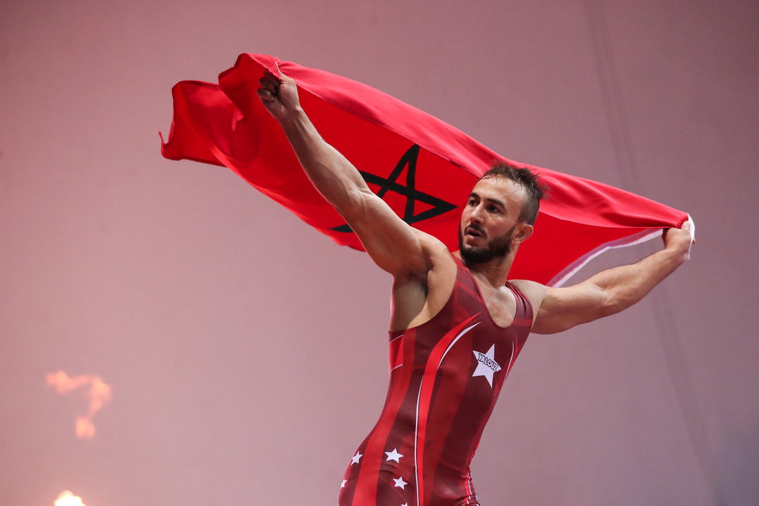 Morocco's Zied Ait Ouagram reached the top of an African podium for the 10th time with his 77kg title-winning performance ©UWW/Kadir Caliskan