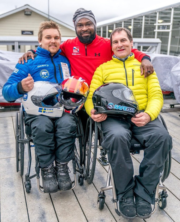 Canada's Lonnie Bissonette, right, won the IBSF Para-Sport World Championships in Lake Placid, with Great Britain's Corie Mapp second and Sweden's Sebastian Westin in third ©IBSF