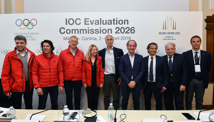 The IOC Evaluation Commission, head by Romania's Octavian Morariu, third left, is due to officially begin its inspection of Italy's bid to host the 2026 Winter Olympic and Paralympic Games by visiting Cortina d'Ampezzo ©CONI