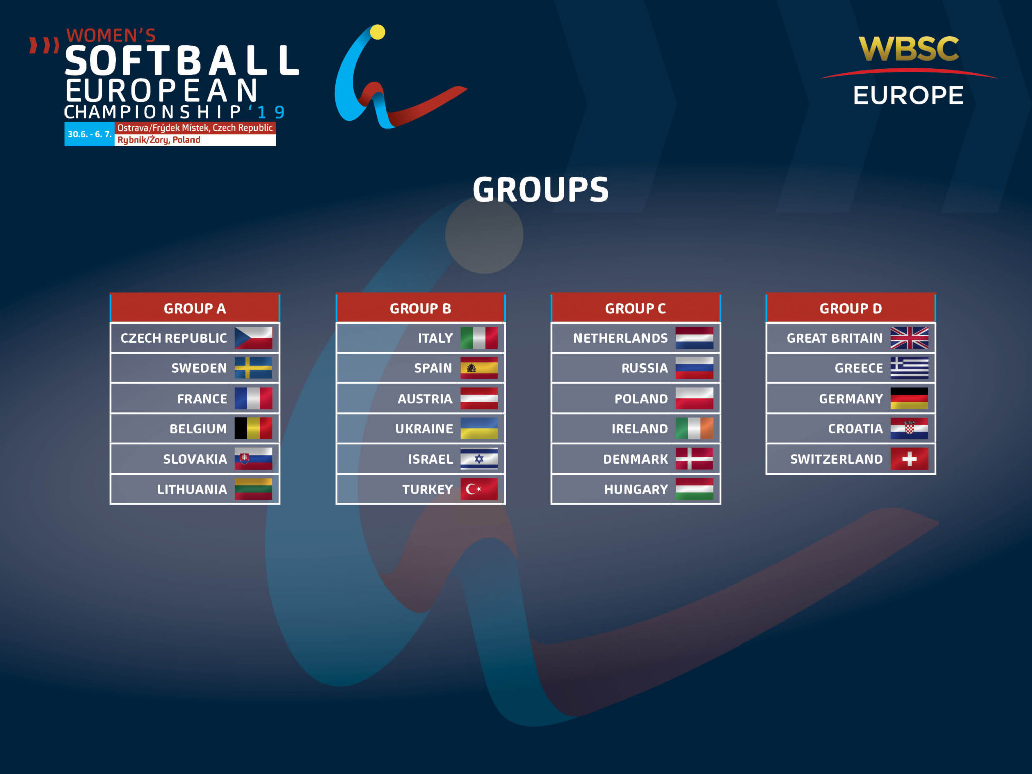 The groups and schedule for the 2019 Softball Women's European Championship has been released ©Softball Women's European Championships