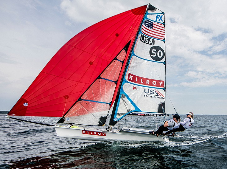Kilroy Realty Corporation sponsors Stephanie Roble and Maggie Shea, a 49erFX double-handed pair on the US Sailing Team ©Sailing Energy/US Sailing