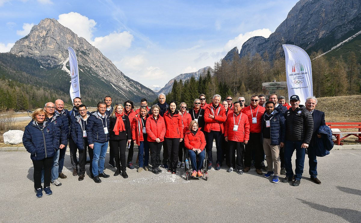 The IOC Evaluation Commission started their five-day visit by travelling to Cortina d'Ampezzo where they inspected the venues for Alpine skiing, curling and the sliding sports, as well as proposed Athletes' Village on the site of the airport built for the 1956 Winter Olympics ©Milan Cortina 2026