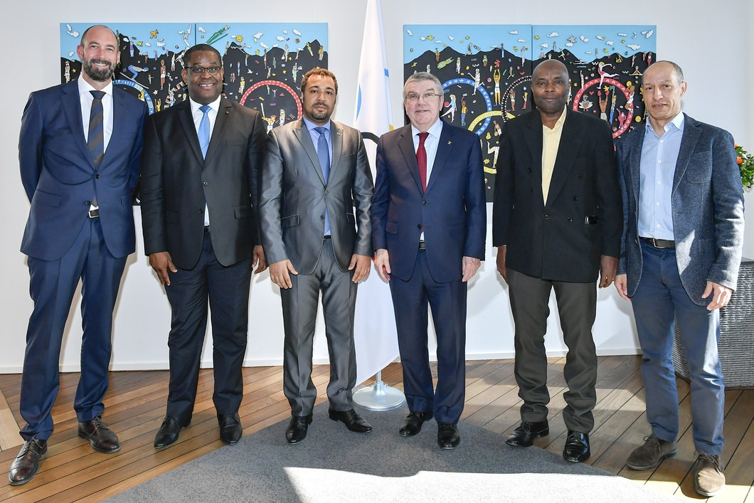 IOC President Thomas Bach welcomed a delegation from the São Tomé and Príncipe National Olympic Committee ©IOC