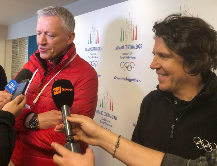 Christophe Dubi, right, the IOC's executive director Olympic Games, admitted they have not heard from the Swedish Government since their inspection of Stockholm Åre 2026 last month ©ITG