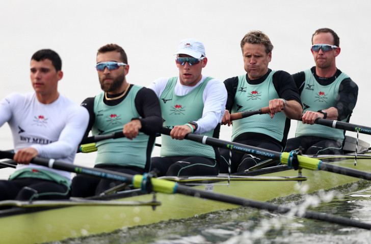 One of the boys - James Cracknell, who will be 47 next month, trains on the Tideway this week as part of the Cambridge crew that will contest the Boat Race against Oxford on Sunday ©Getty Images