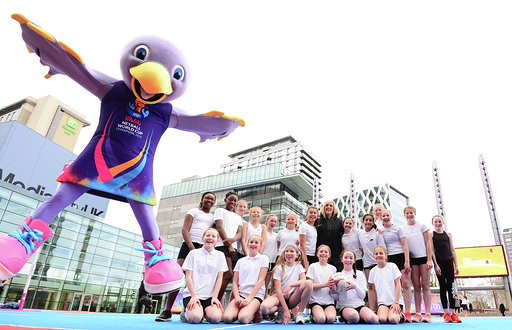 Netball World Cup 2019 mascot Jude joins local schoolgirl players as the 100-days-to-go milestone until play starts in LIverpool is marked a Salford's MediaCity ©NetballWorldCup2019