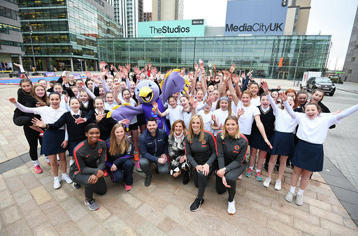 Home Nations players and coaches join local schoolgirls in Salford to mark the 100-days-to-go milestone before the Netball World Cup starts in Liverpool ©NWC2019