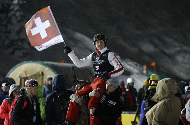 Noe Roth of Switzerland, who will defend his FIS world junior aerials title in Italy tomorrow, earned a silver medal at the senior World Championships in Park City earlier this year ©Getty Images