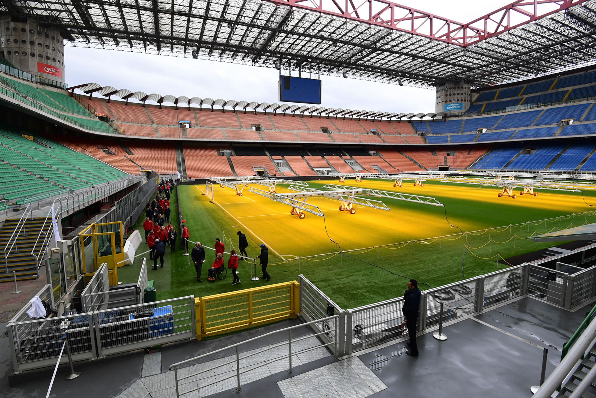 The IOC Evaluation Commission had the opportunity to walk round the pitch at San Siro ©Getty Images