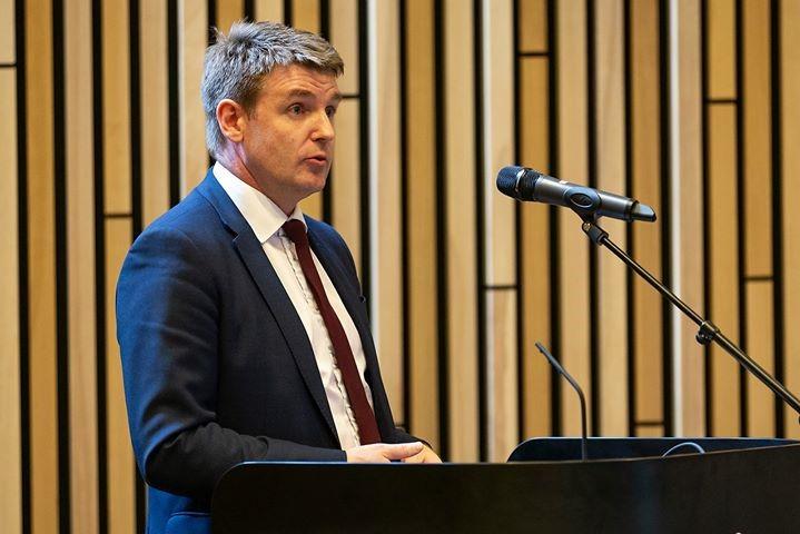 Faroe Islands Prime Minister Aksel V. Johannesen spoke at the anniversary celebration event ©Faroe Photo