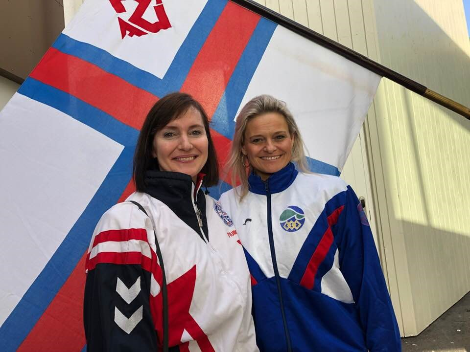 Minister of Finance Kristina Háfoss and Mayor of Tórshavn Annika Olsen wore their team kit from when they competed at the Island Games ©Faroe Photo