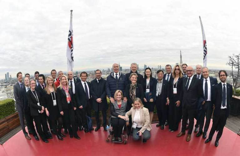 The Milan Cortina 2026 bid team and the IOC Evaluation Commission pose together during a break in their working session at the Palazzo Reale in Milan today ©Milan Cortina 2026