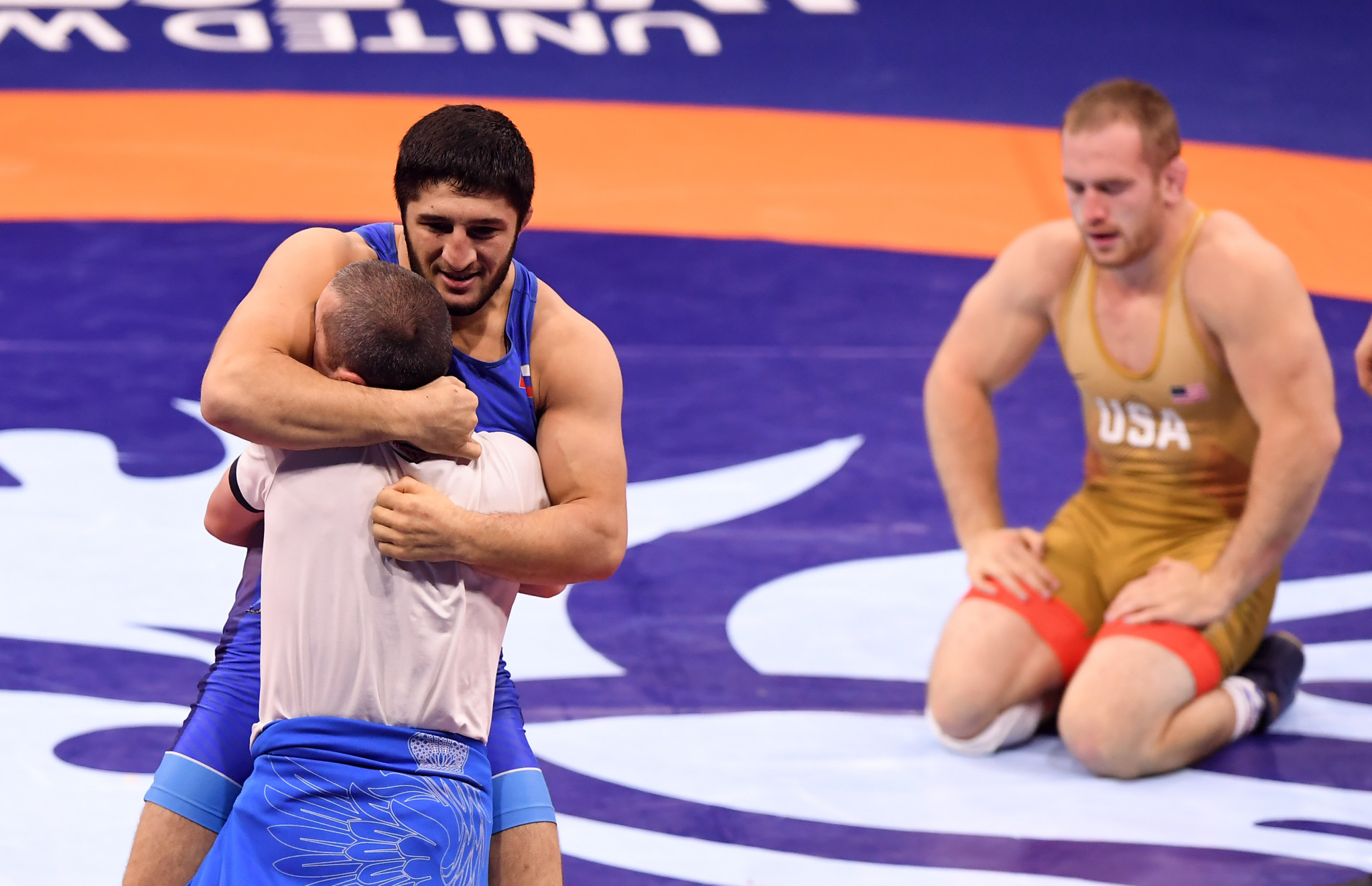 This year's Championships will end with the 97kg freestyle final, won in 2018 by Abdulrashid Sadulaev, left ©Getty Images