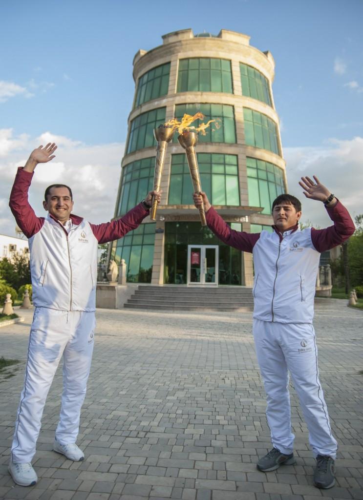 Baku 2015 torchbearers Elchin Huseynov and Anar Istamov in Jalilabad
