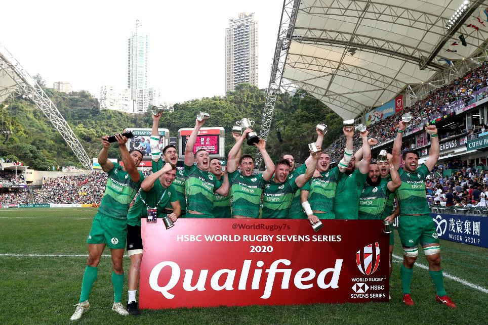 Ireland celebrate winning the qualification tournament at Hong Kong Stadium which earned them a place in next year's World Rugby Sevens Series ©World Rugby