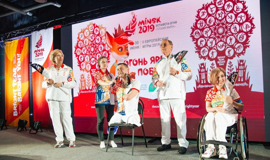 The Minsk 2019 torch and torchbearer uniforms have been revealed ©Minsk 2019