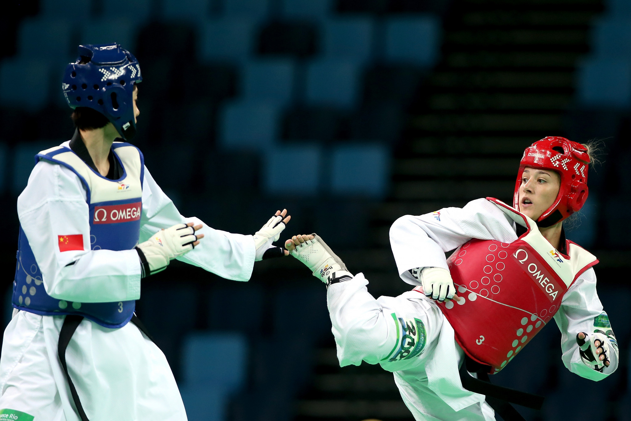 Brazil's Rafaela Araujo, right, was among the women's winners after coming out on top in the under-57kg category ©Getty Images