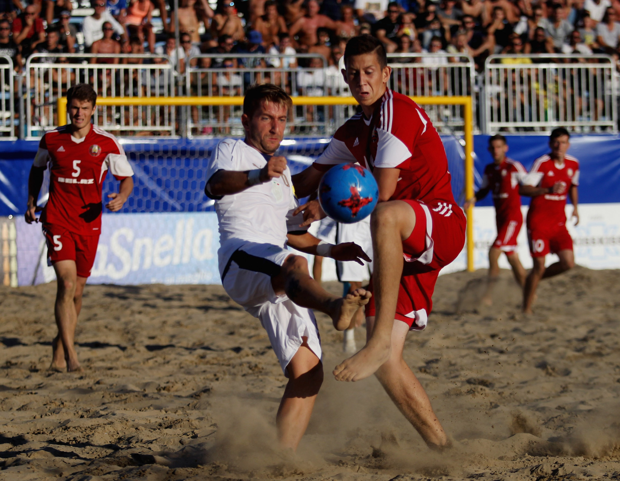 Belarus's Ivan Miranovich, right. helped conduct the draw for the Minsk 2019 beach soccer tournament ©Getty Images
