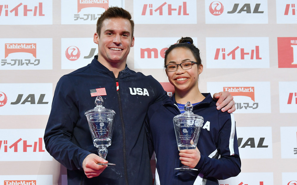 Morgan Hurd and Sam Mikulak gave the United States a double win as the 2019 International Gymnastics Federation All-Around World Cup series came to an end in Tokyo ©FIG/Rimako Takeuchi