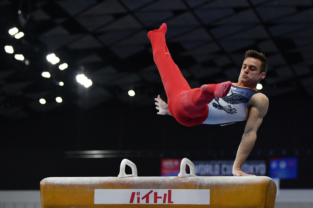 Two-time Olympian Sam Mikulak came out on top in the men's all-around standings ©FIG/Rimako Takeuchi
