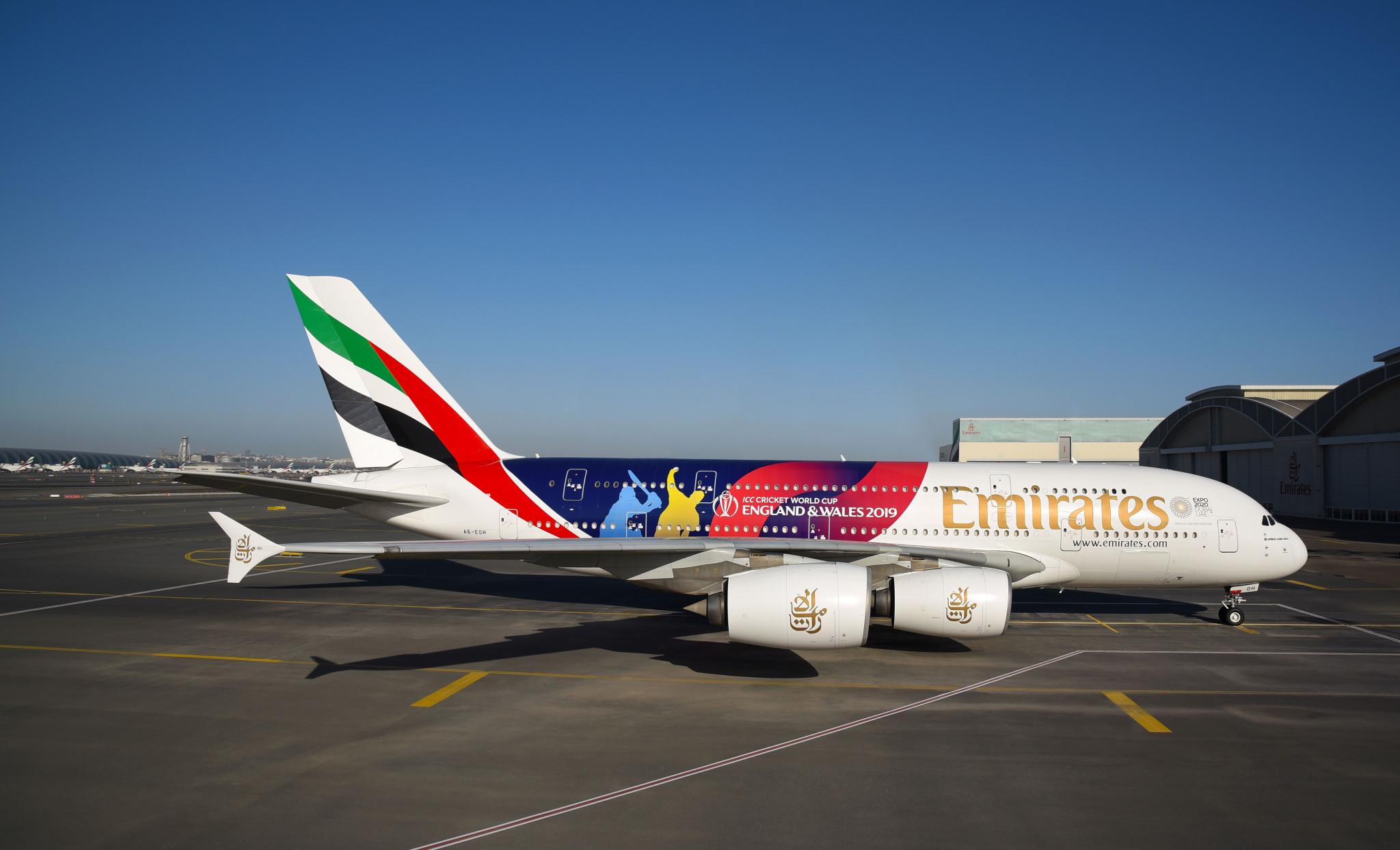 Emirates has revealed a special livery for its A380 airliner in the build-up to the 2019 Men's Cricket World Cup ©ICC