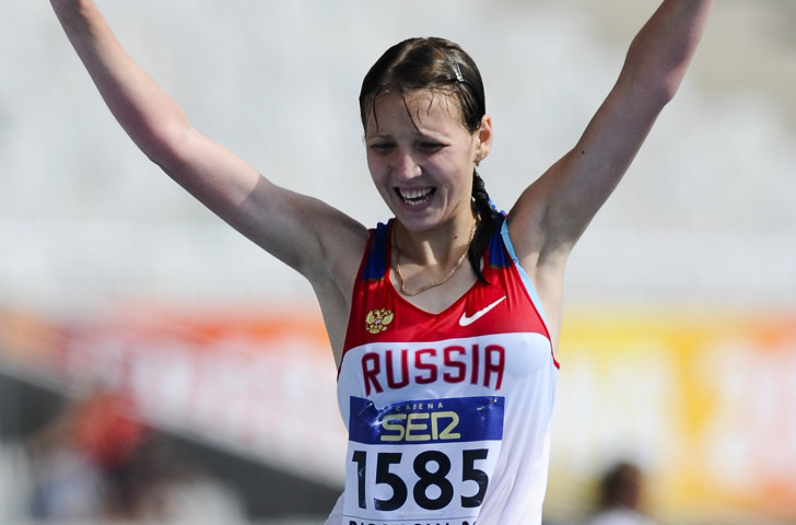 Russia's Ekaterina Medvedeva, pictured winning the 10,000m race walk title at the 2012 IAAF World Junior Championships, has received a provisional doping suspension from the Athletics Integrity Unit ©Getty Images