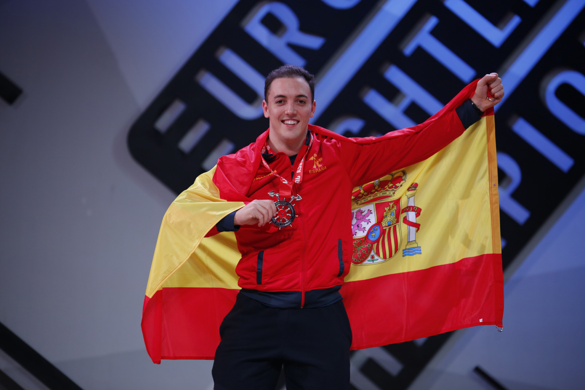Spain's Andres Mata won a silver medal in the men's 81kg snatch, despite being in Group B ©FEH